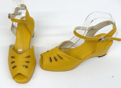Rita Wedge Sandals Mustard - IN STOCK NOW