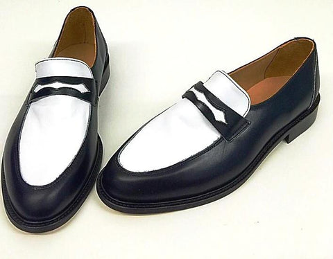 Penny Loafer Black/White Leather  IN STOCK