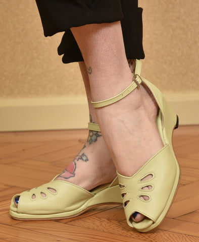 Rita Wedge Sandals Pale Green - IN STOCK NOW