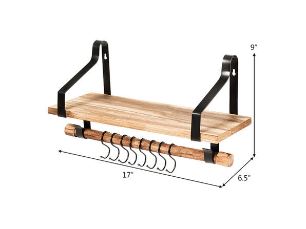 Costway Wood Floating Shelf Wall Mount Shelf W/Removable Towel Bar