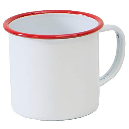 White and Red Tinware Mug