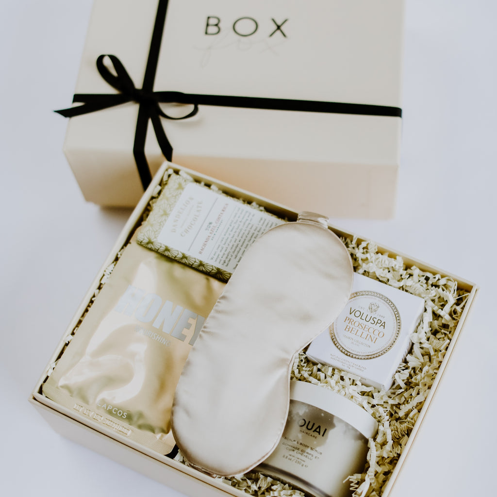 BOXFOX Golden Pamper gift box, pampering care package, golden care package, elevated gift box, elevated relaxation care package