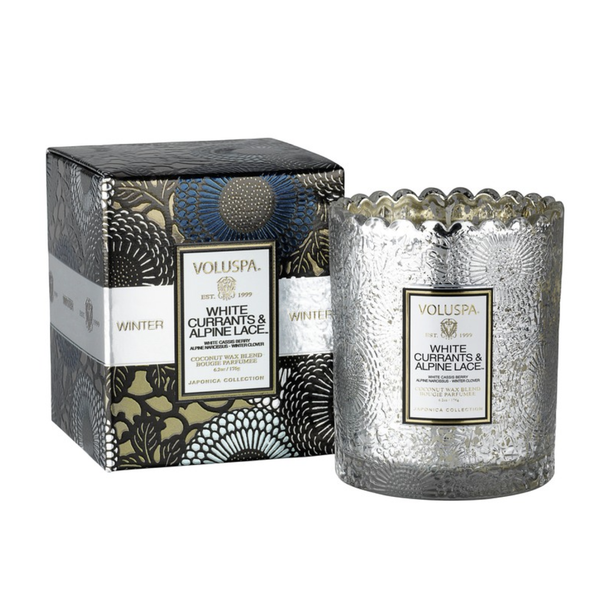 White Currants & Alpine Lace Scalloped Candle