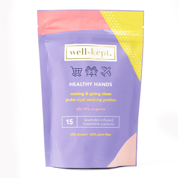 Healthy Hands Lavender Towelettes, Pack of 15