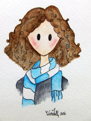 Doodle Dame with Blue Scarf