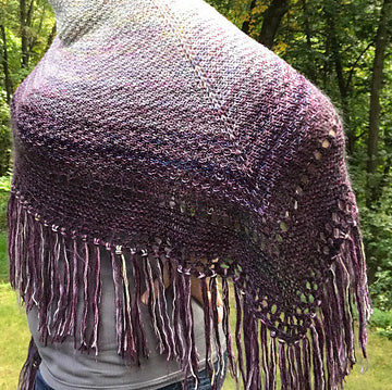 Afternoons At Longbourn-  Gray/Purple Sample Shawl