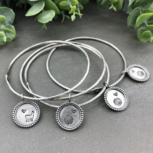 Sterling Silver Rivet Bangle Bracelet With Pendant