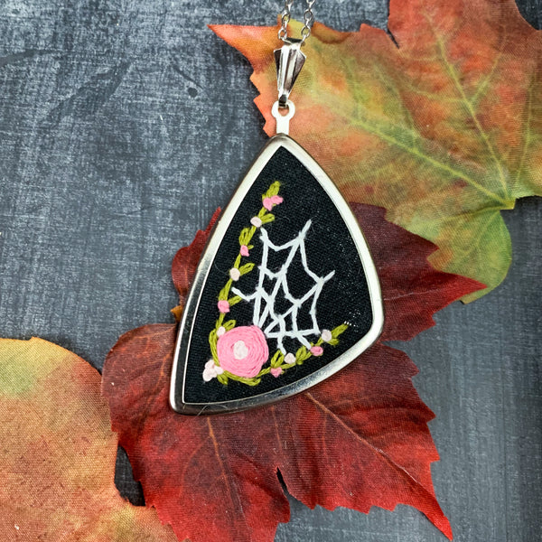 Spider Web & Pink Roses Hand Embroidered Necklace- Large Pendant