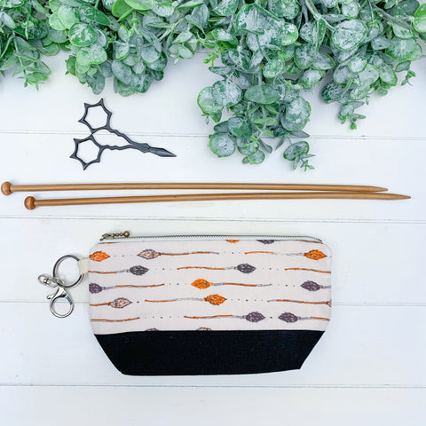 Witch Besom- Small Notions Pouch w/ black bottom