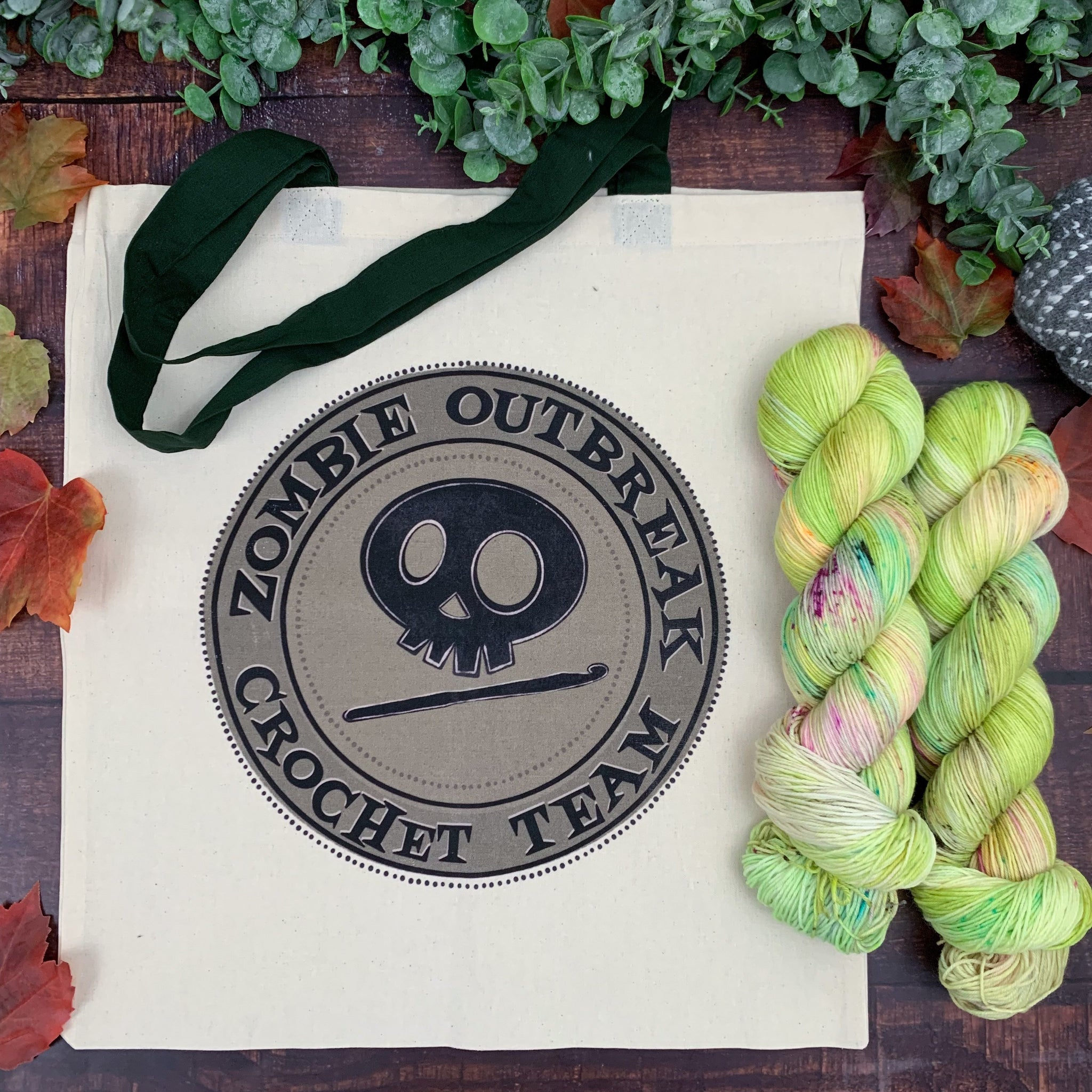 Zombie Outbreak Crochet Team- Vintage Tote Bag