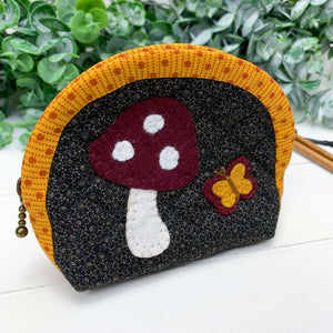 Toadstool & Butterfly- Small Artisan Notions Pouch
