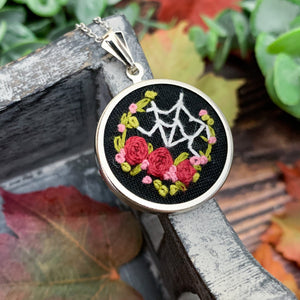 Spider Web & Red Roses Hand Embroidered Necklace- Small Circle Pendant