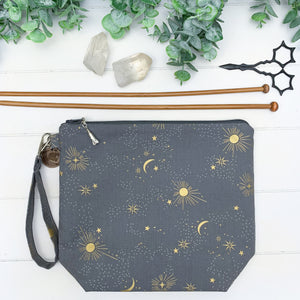 Gray Celestial- Small Gusset Bag w/ Rocket Charm