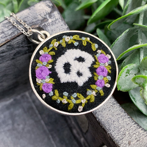 Skull with Purple Roses: Large Embroidered Circle Pendant