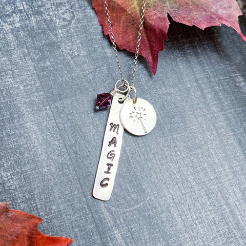 SALE- Purple Magic- Hand Stamped Sterling Silver Necklace.
