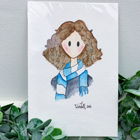 SALE- Doodle Dame with Blue Scarf