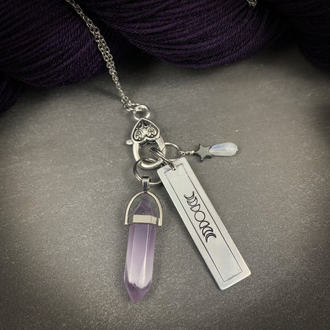 Amethyst Pendant Stitch Marker Necklace