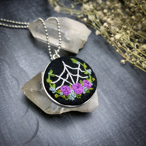 "Spider Web & Purple Roses: Large Embroidered Circle Pendant w/ 24"" Chain"