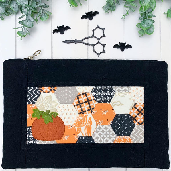 Dark Pumpkin Harvest- Large Artisan Hexi Flat Notions Pouch