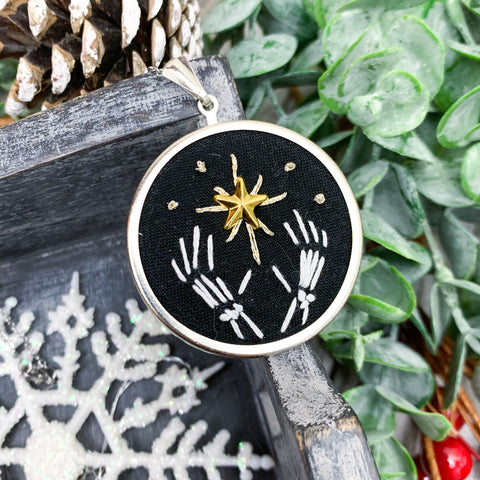 Skeleton Hand & Star Large Circle Pendant