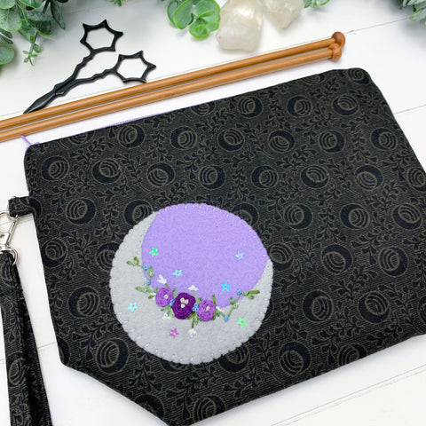 Purple Moon with White Flowers- Small Gusset Project Bag