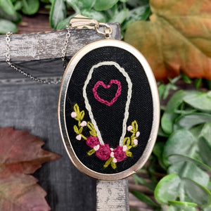 Coffin & Roses Hand Embroidered Necklace- Large Oval Pendant