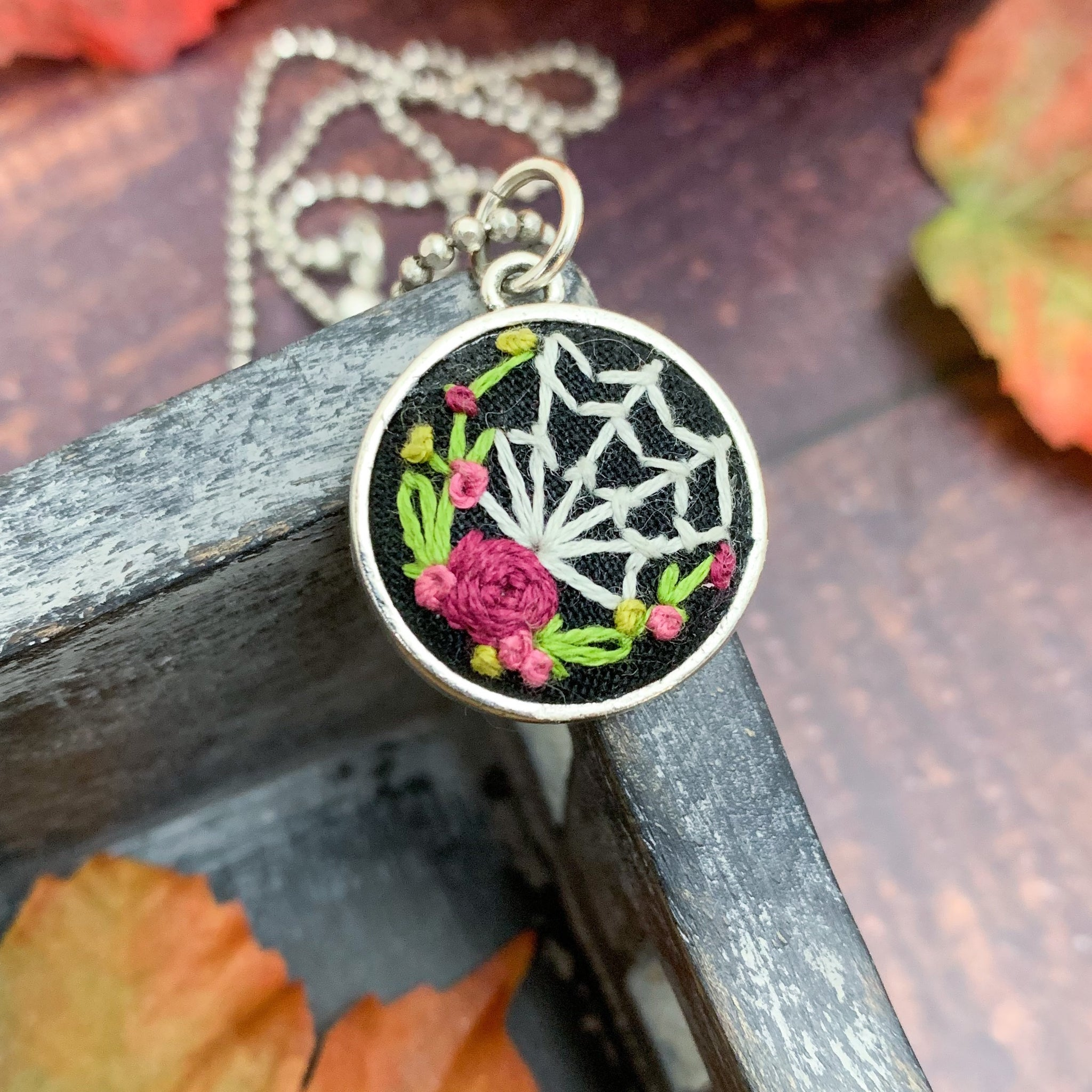 Spider Web & Roses- Embroidered Necklace