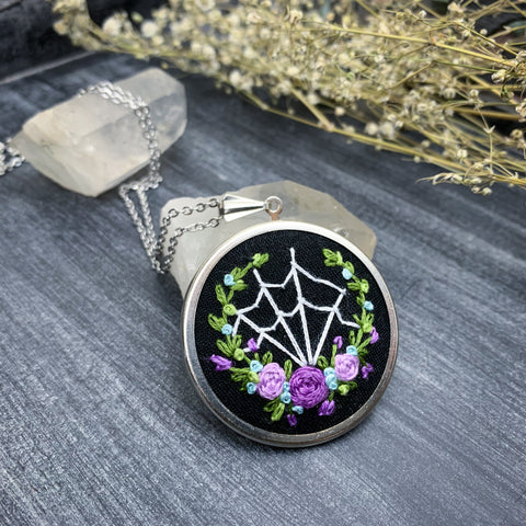 Spider Web & Purple Roses with Blue Flowers Hand Embroidered Necklace- Large Circle Pendant