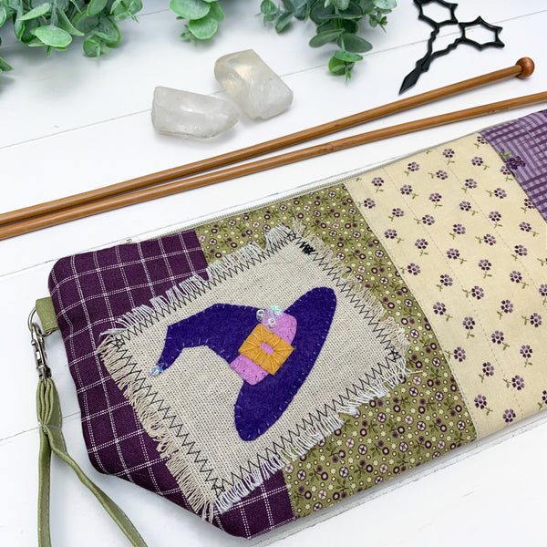 Purple Cottage Witch- Small Gusset Project Bag w/ Green Handle