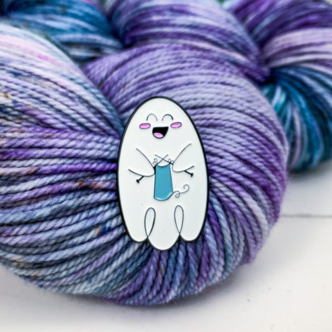 Ghost Knitter Enamel Pin- Glow In The Dark