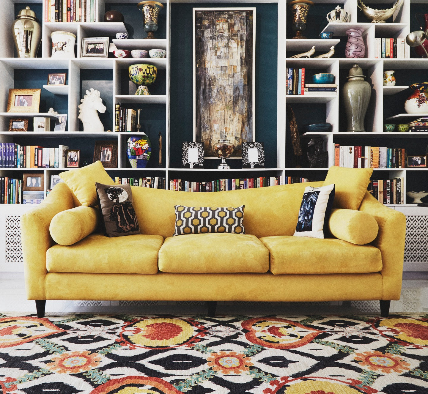 Bold patterned rug brings a living room together beautifully.