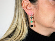 Load image into Gallery viewer, Earrings with round striated green agate stones