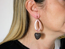 Load image into Gallery viewer, Earrings with brown lava stone hearts and dark pink mother-of-pearl
