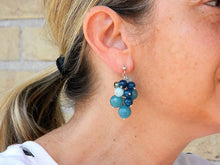 Load image into Gallery viewer, Cluster earrings with blue angelite, jade and Swarovski