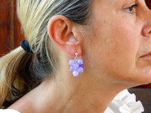 Load image into Gallery viewer, Cluster earrings with shaded lilac agate balls