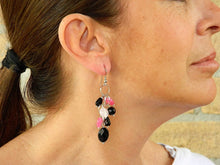 Load image into Gallery viewer, Cluster earrings with natural black, pink and ruby stones