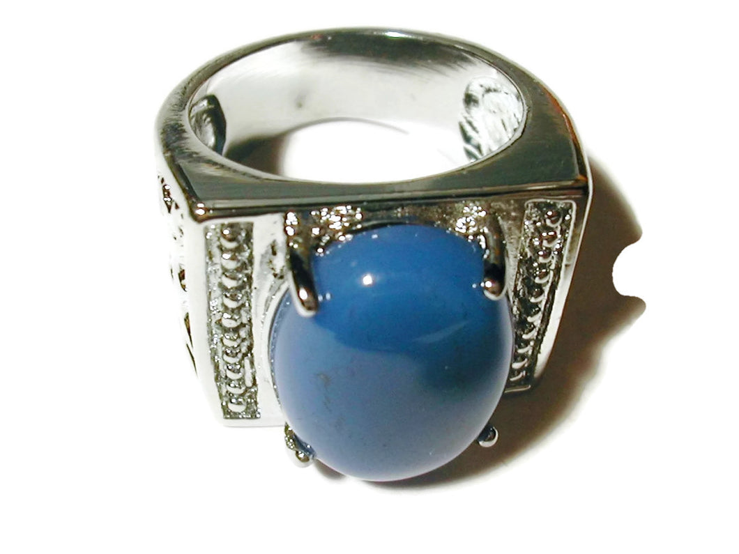 Ring with blue agate stone