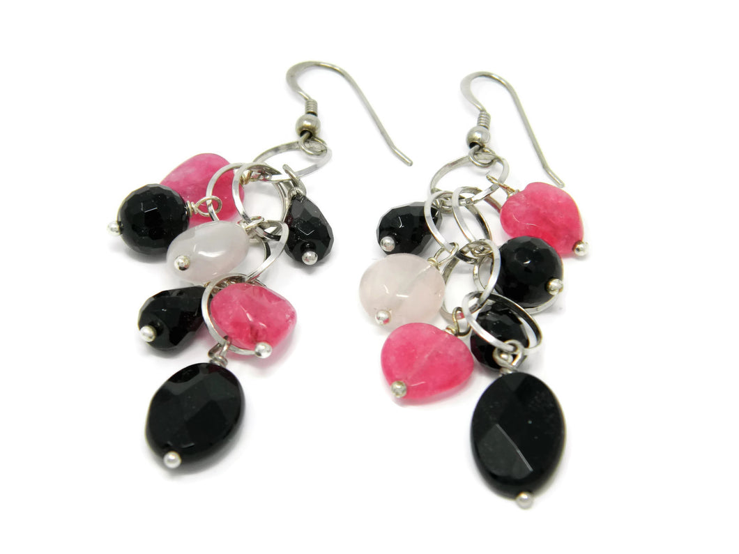 Cluster earrings with natural black, pink and ruby stones