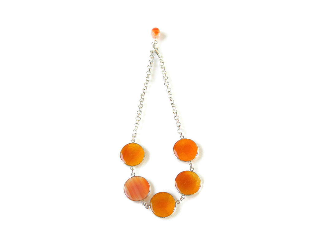 Choker with orange agate cabochon