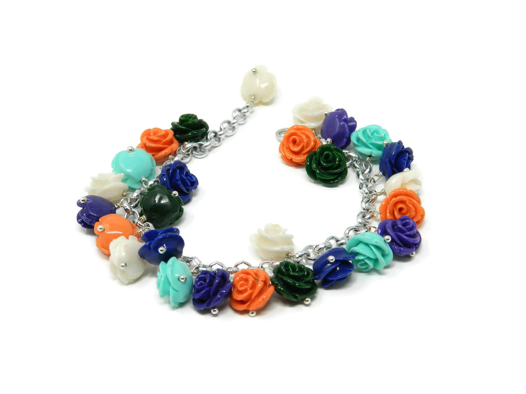 Bracelet with multicolored resin roses