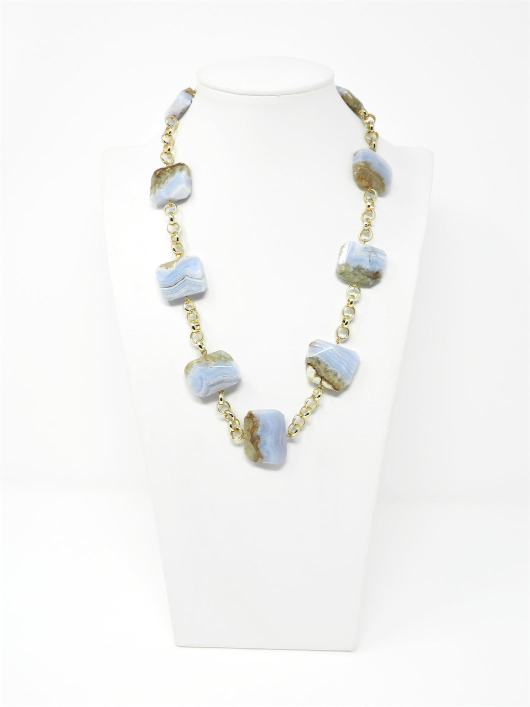 Necklace with irregular striated chalcedony stones