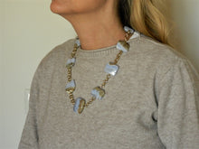 Load image into Gallery viewer, Necklace with irregular striated chalcedony stones