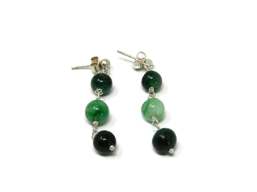 Earrings with round striated green agate stones