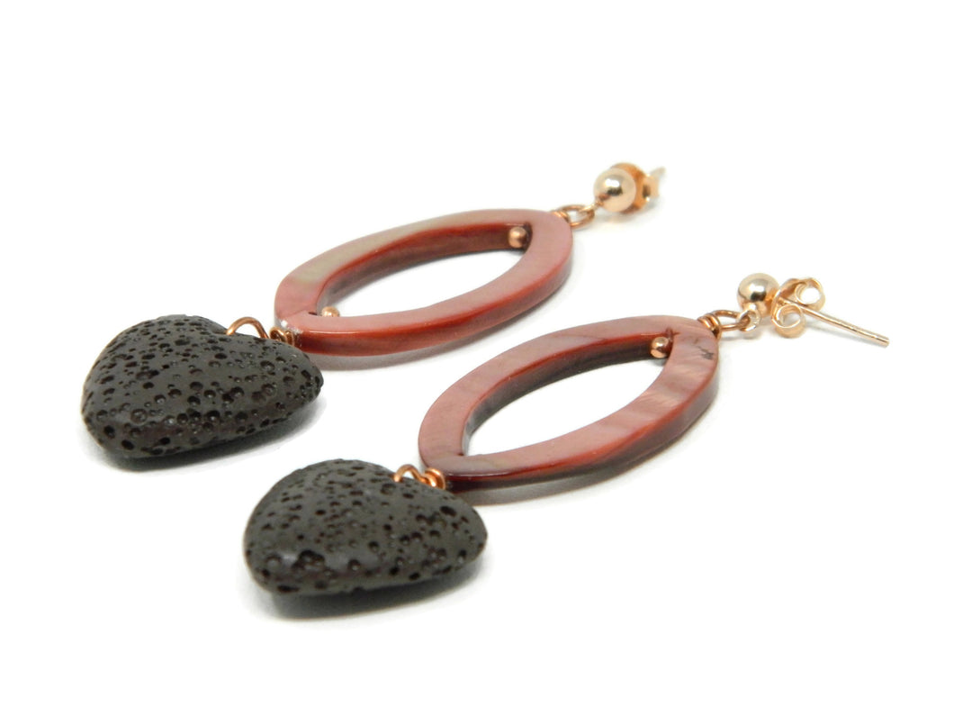 Earrings with brown lava stone hearts and dark pink mother-of-pearl