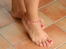 Load image into Gallery viewer, Rosary anklet with fuchsia ruby root balls