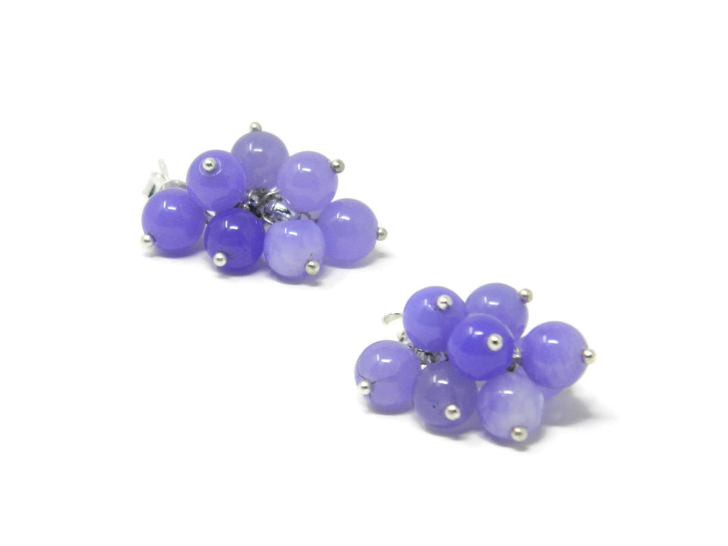 Cluster earrings with shaded lilac agate balls