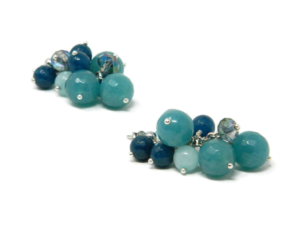 Cluster earrings with blue angelite, jade and Swarovski