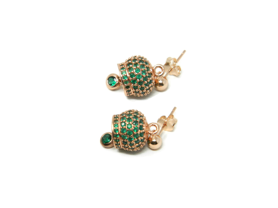 Rose silver earrings with green cubic zirconia Call Angels bells