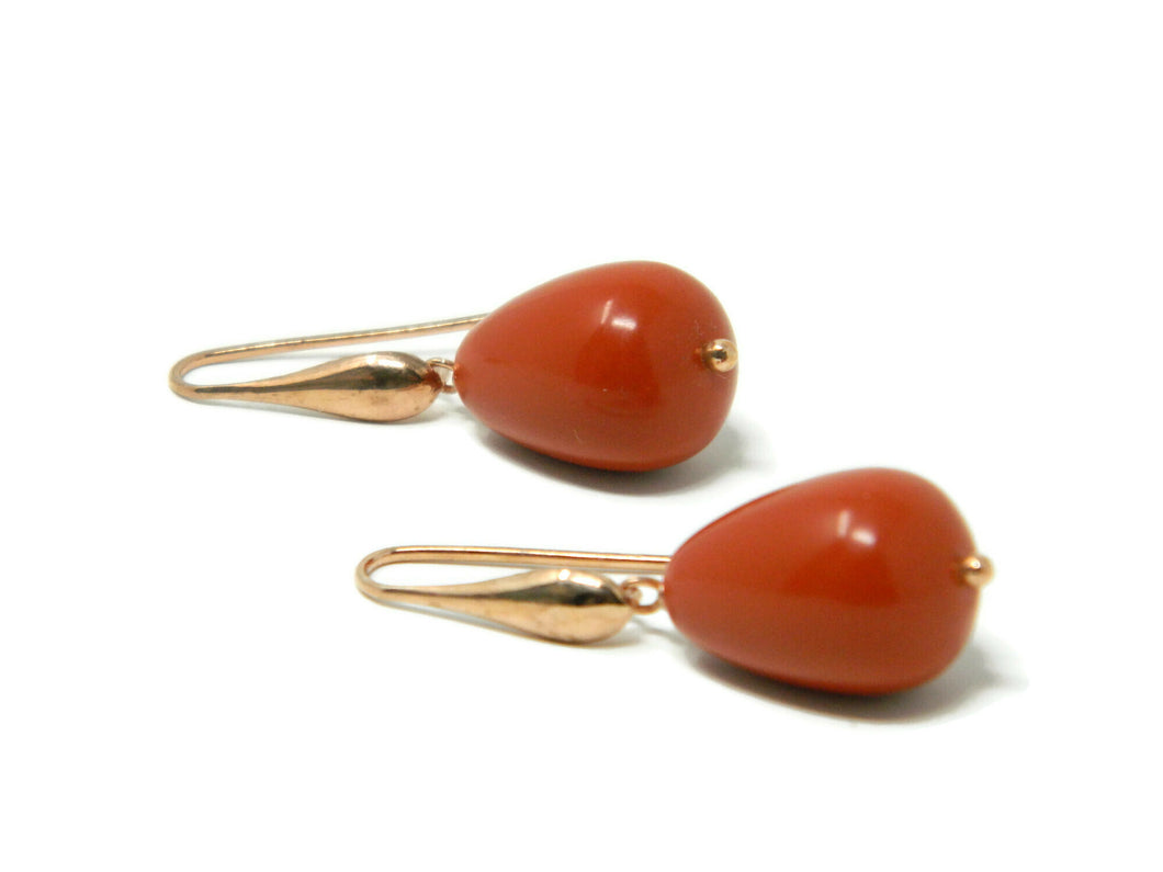 Earrings with rose silver drop hook and faceted drops of Sardinia red coral paste