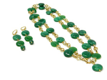 Load image into Gallery viewer, Long necklace with green emerald jade stones